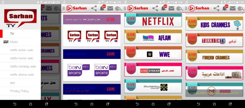 Sarhan TV New HD Quality IPTV APK More than 1000 Channels